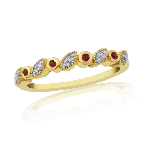 Yellow Gold Ruby And Diamond Grain Eternity Ring